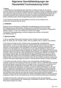 Allgemeine Geschäftsbedingungen der Weustenfeld Fruchtverpackung GmbH